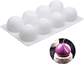 3D Sphere Silicone Mold, Round Mousse Cake Baking Molds, Dessert Molds for Jelly, Ball Pastry and Ice Cream Bombe, 11.5 x 6.8 x 2.2 Inch (Single Sphere Mold: D 2.4 x 2.2 Inch)