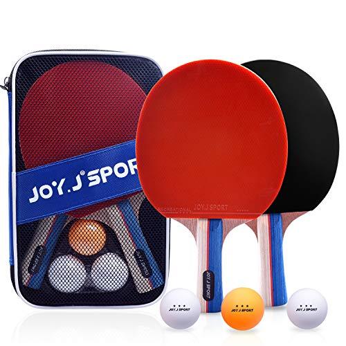 Joy.J 2 Racchetta Ping Pong, Racchette Ping Pong Professionale, Set da Ping-Pong | Maniglia Antiscivolo Svasata | Spugna ad Alta Elasticità 2mm | Lama in Legno di Pioppo a 7 Strati