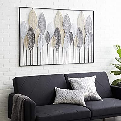"Deco 79 65650 Large Textured Brown, White, Gray & Black Metal Leaf Wall Art, 59""x37"" by Deco 79"