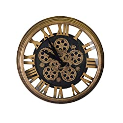 IMPORTED GIFT DEPOT Steampunk Style Black and Gold Skeleton Wall Clock with All Moving Gears and Roman Numerals