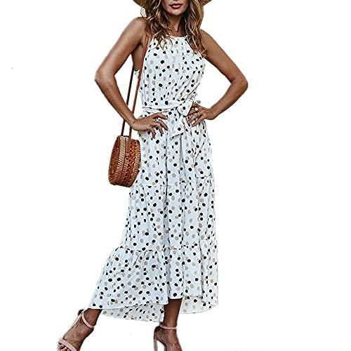 QUNLIANYI Vestido Largo con Estampado Floral de Verano para Mujer, Cuello Redondo, sin Mangas, con Lunares, Vestidos de Fiesta, Vestido Informal de Playa Bohemio, XL Blanco