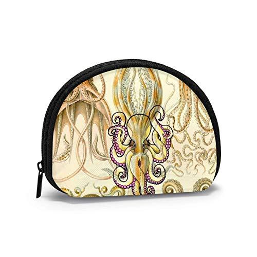 Oxford - Monedero de tela de calamar de pulpo con infografías para monedero con cremallera pequeña, bolsa de cambio, bolsa de maquillaje para cosméticos