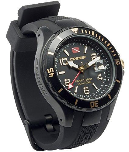 orologio da polso radiocontrollato Cressi Traveller Dual Time Orologio Professionale Subacqueo 200m/20ATM