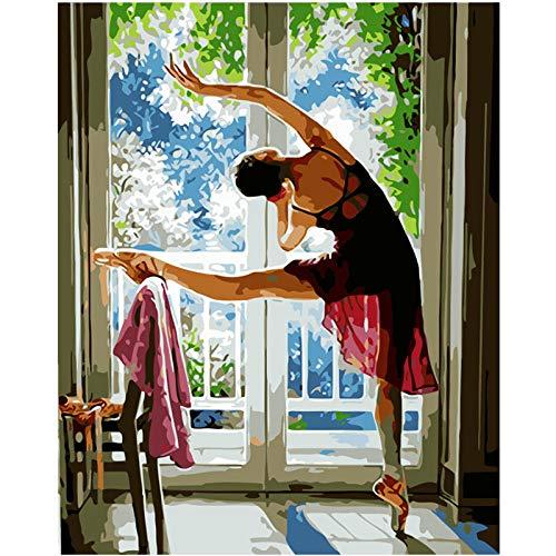 Yrhfys olieverfschilderij schilderen op nummer, doe-het-zelf ochtendoefening, ballet, afbeelding canvas, bruiloft, decoratie, kunstschilderij, geschenk-40 x 50 cm (zonder lijst)