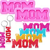 2 Pieces Mom Word Keychain Silicone Mold Mom Silicone Mold Chocolate Candy Clay Molds with 20 Pieces Key Rings...