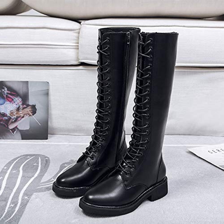 Shukun Stiefeletten Stiefel Weibliche Herbst Und Winter Martin Stiefel Dünne Stiefel Riemen Lange Stiefel Dick Mit Reiverschluss Stiefel Hohe Stiefel