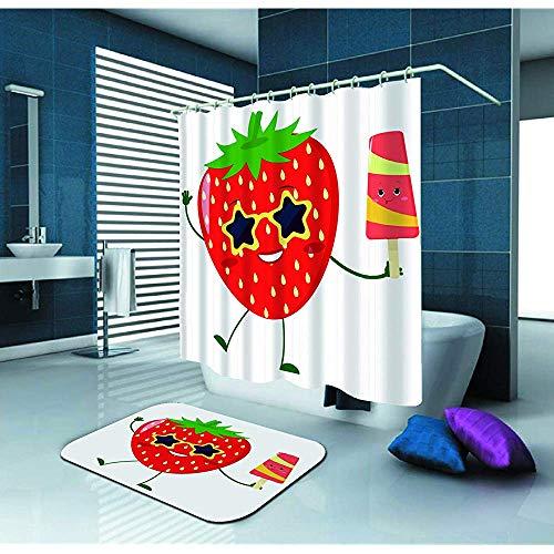 Duschvorhang Niedliche Erdbeer-Cartoon-Figur in Sonnenbrille Wasserdichter Duschvorhang aus Polyestergewebe (72 'x 72') Set und Fußmatte für Fußmatten Teppiche (23,6 'x 15,7') für Badezimmer