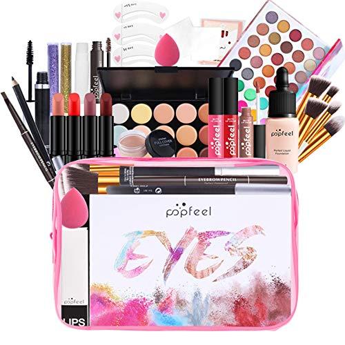 qingyin Kit De Maquillage Tout-en-Un - 29 Pièces Cosmétiques avec Sac De Rangement, Ensemble De Maquillage Polyvalent Kit Cosmétique De Beauté De Démarrage Essentiel