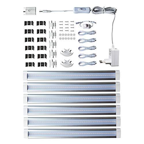 Lampaous LED Unterbauleuchte Schrankleuchte Schrankbeleuchtung Dimmbar Leuchtstoffröhren für Küchenarbeitsplatte, Schrank, Regalbeleuchtung, 24W 1800 Lumen, 3000K, 6 Stück Lichtleisten (Warmweiß)