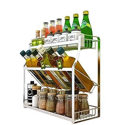 Spice Rack, Punch-free Wall Mount 304 Stainless Steel Kitchen Seasoning Storage Rack from CS-LJ