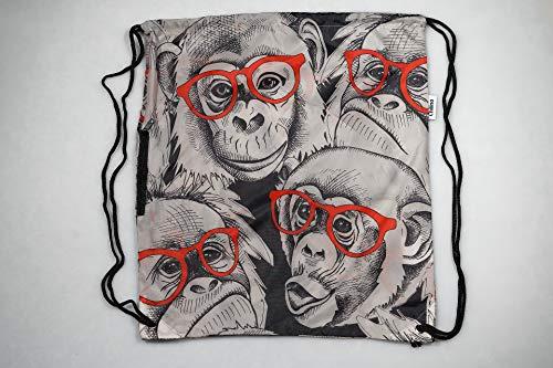 Chilino Rucksack Gorilla / Zusammenfaltbarer Rucksack mit Umtasche / Umweltfreundlich / 43 x 39 cm