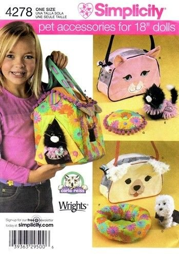 """Simplicity 4278 Pet Accessories for 18"""" Doll"""
