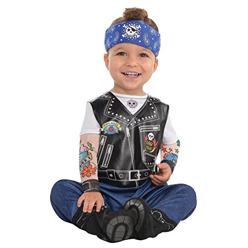 amscan 845927 Baby Biker Costume - 6-12 Months, Multicolor