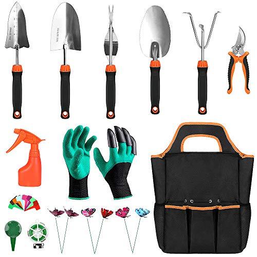 CestMall Juego de 13 herramientas de jardinería de aluminio de alto rendimiento, paleta de trasplante y rastrillo con mango suave de goma antideslizante