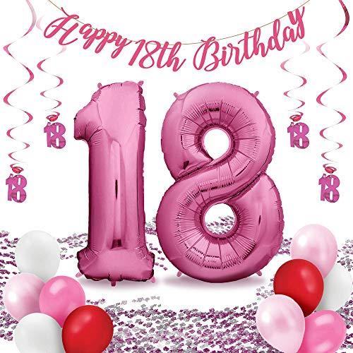 envami Folienluftballons Set - für die perfekte Überraschung zum Geburtstag: XXL Luftballon pink (100cm) + Konfetti + Happy Birthday Girlande + Hängedeko + 10 Luftballons (Zahl 18)
