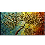 YaSheng Art - 28x20inchx3 Oil Paintings Hand Painted 3 Panels Oil Painting on Canvas Palette Knife 3D golden Trees Paintings Modern Home Decor Wall Art Painting for Living Room Framed Ready to Hang