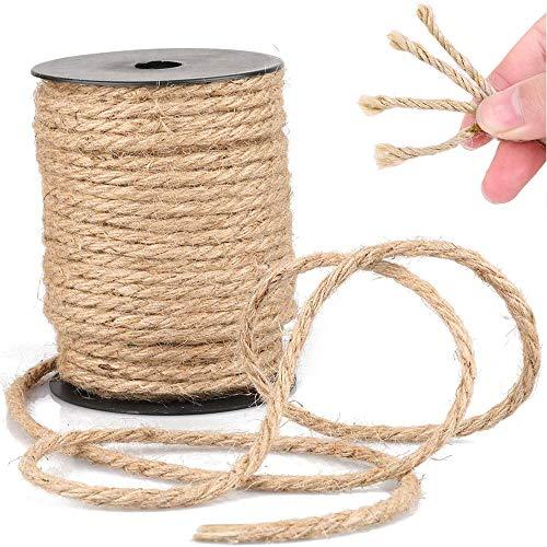 ZoneYan Cuerda de Sisal 6mm(55m), Cuerda de Sisal Natural, Sisal Cuerda Gatos, Cuerda de Cáñamo para Árbol de Gato, Cuerda para Rascadores, Sisal Cuerda, También Apto para Jardin, Jardineria y DIY
