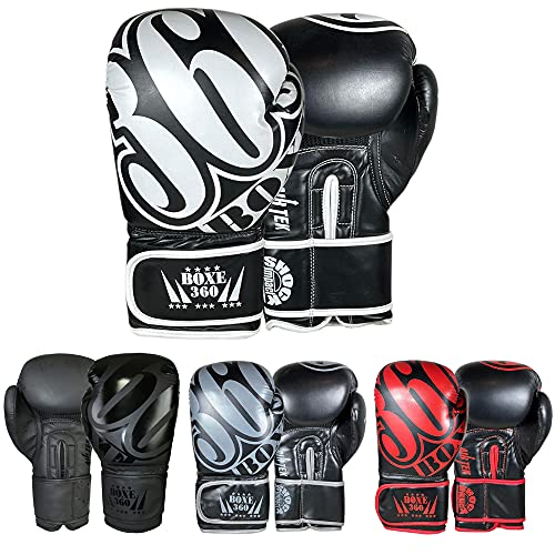Twister Boxing Gloves/MMA Gloves Best for Every Day Workout Artificial Leather Strong (Black/White/Intruder, 14oz)