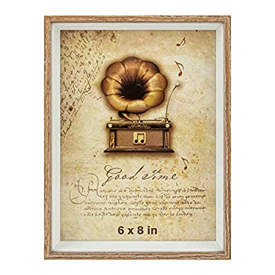 GooBeans 6x8 Picture Frame Made of Ps for Table-Top Display and Wall Mounting HD Glass Photo Frame
