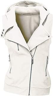 iHHAPY Women's Winter Vest Hooded Casual Vest Warm Softshell Vest Sleeveless Winter Jacket Outdoor Vest with Pocket Zip