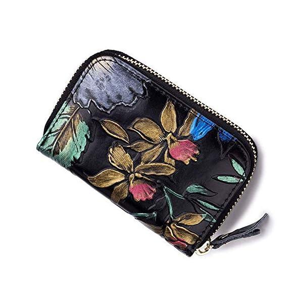 HLBag Women Credit Card Holder Organizer Genuine Leather Wallet Small RFID Blocking Coin Purse
