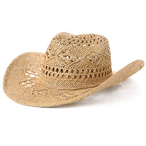 potente para casa FANCET Sombrero de vaquero de paja para mujer, diseño de sombrero de Panamá occidental, perfecto para…