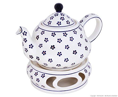 Original Bunzlauer Keramik Teekanne 1,5 Liter mit integriertem Sieb und Stövchen im Dekor 225