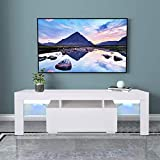 TV Stand with LED Lights, Open Shelves High Gloss Entertainment Center Media Console Table Storage Desk for Up to 55 Inch TV, White, 2021 Release