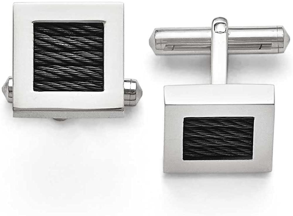 Chisel Titanium Polished Black Plated Wire Cuff Links
