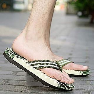 Men Sport Flip Flops Comfort Casual Thong Sandals Outdoor Summer Beach Shoes (Color : Green, Shoe Size : 43)