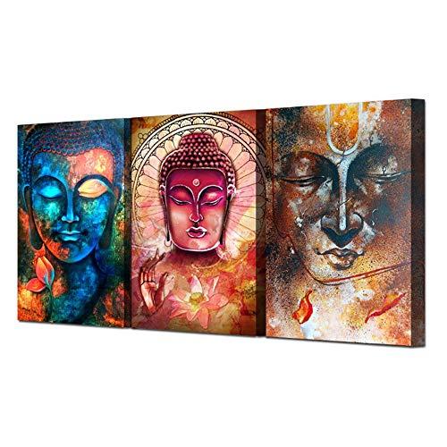 Canvas Boeddha Afbeelding Portret Wall Art Foto Woondecoratie voor Woonkamer Doek Foto Geschilderd op Canvas 50x70cm (19,7