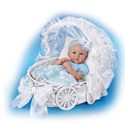 The Ashton-Drake Galleries Marissa May Lifelike Baby Doll with 7 Piece Ensemble and Carriage Wicker Basket