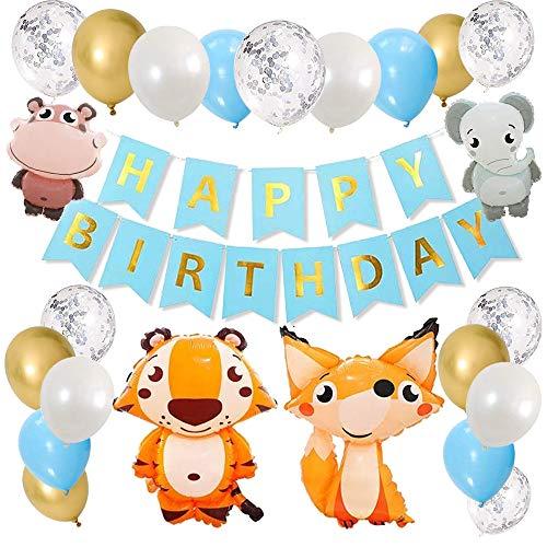 Decoraciones de cumpleaños para niños Tema de cuento de hadas Globos de cumpleaños de animales Látex Elefante Tigre Zorro Hipopótamo Globos de fiesta para niñas Niños