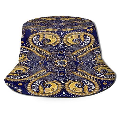 RUEMAT Sombrero Pescador Unisex,Patrón Transparente Vector con Adorno Floral Indio Papel Pintado,Plegable Sombrero de Pesca Aire Libre Sombrero Bucket Hat para Excursionismo Cámping De Viaje Pescar