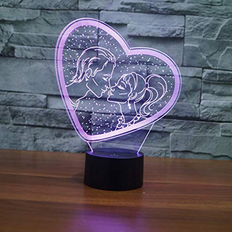 Zyue 3D Licht Led Herz Tischlampe USB 7 Farbwechsel Liebhaber Kuss 3D Nachtlicht Romantische Hochzeitsdekoration,Blautooth-Lautsprecher