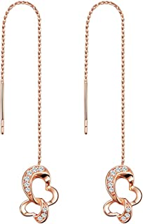 VIGG Threader Earrings Cubic Zirconia Long Chain Dangle Earrings 925 Sterling Silver Hypoallergenic Earrings for Sensitive Ears