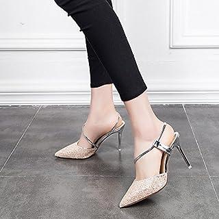 a60a2bf2 GTVERNH Crystal Shoes Princesa 9 Cm De Tacon Alto Fino Zapatos Zapatillas  Chicas Sandalias De Verano