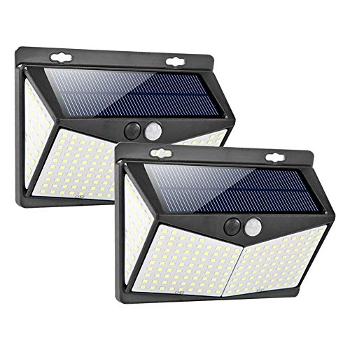 Solar Lights Outdoor Upgraded 122/208 LED Solar Security Lights PIR Motion Sensor Tuinlampen Zonne aangedreven 120° Zonnewand Lights Draadloze Lamp IP65 Waterdichte 3 Modes voor Buiten