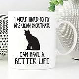 Taza Taza de American Shorthair, Gato de American Shorthair, Taza de gato, Amante de los gatos, Taza de café, Taza de café de gato, Taza divertida del gato, Gato, Lindo