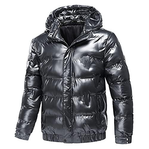 Chejarity Chaqueta acolchada ligera de invierno para hombre, con capucha acolchada, deportiva, resistente al viento, con cremallera, gris oscuro, XL