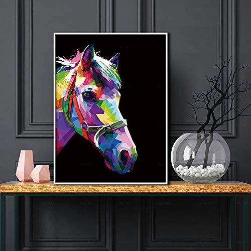 Tiger Pferd Dinosaurier Poster und dekorative Malerei Kunst Bild für Schlafzimmer Wandkunst Home Dekoration,Rahmenlose Malerei-50X67cm