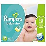 Pampers Baby-Dry Disposable Diapers Size 2, 222 Count, ECONOMY PACK...