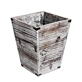 Liry Products Rustic Torched Wood Square Waste Basket Farmhouse Style Recycle Bin Trash Can Decorative Metal Brackets Whitewashed Wooden Garbage Container Ash Holder Bedroom Living Room Home Office