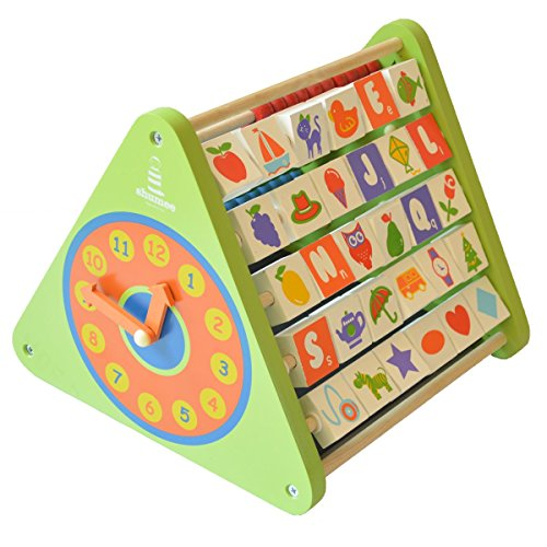 Shumee 5-in-1 Wooden Activity Triangle for Kids (2+ Year olds) – Learning Toy with Abacus, Chalkboard, Alphabet Blocks, Clock & Gears