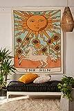 Simpkeely - Arazzo da parete con tarocchi, The Sun da appendere alla parete dell'Europa medievale, decorazione da parete hippie boho per dormitorio, camera da letto, soggiorno, 149,9 x 129,5 cm, sole