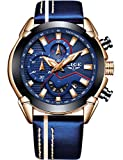 LIGE Mens Watches Chronograph Waterproof Military Sports Analog Quartz Gents Watches Big Face Leather Strap Date Fashion Casual Dress Wrist Watch Blue