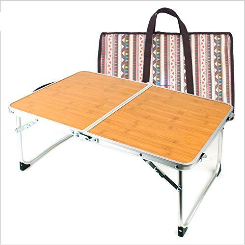 FEZBD Draagbare Camping Zijtafels met houten tafelblad: Hard-Topped klaptafel in een tas voor picknick, kamp, strand, boot, handig voor eten en koken met brander, gemakkelijk schoon te maken
