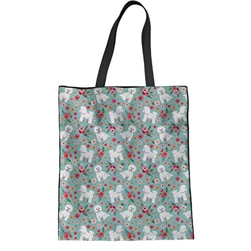 Aoopistc Cute Puppy Bichon Frise Flower Handbag Grocery Women's Cotton...
