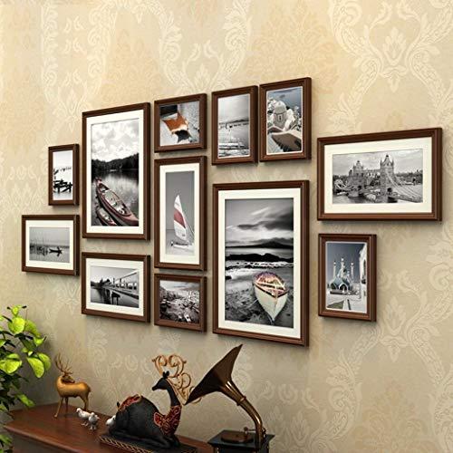 Jjek K- Photo Frame Photo Wall Originele Vintage Bruin Hout fotolijst, Engels Architectuur Zee Landschap Patroon Slaapbank Woonkamer Achtergrond Totaal 12 stks