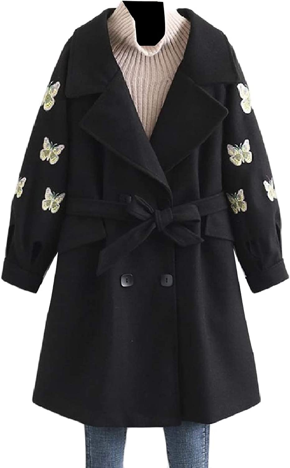 Baseby Womens Lapel Belted Design ThighLength Wool Blended Woolen Coat